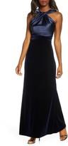 Eliza J Twist Front Sleeveless Satin & Velvet Gown