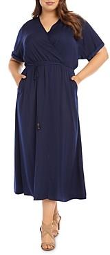 Karen Kane Plus Cuffed-Sleeve Midi Dress