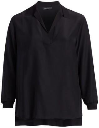 Lafayette 148 New York, Plus Size Long Sleeve Silk Boyd Blouse