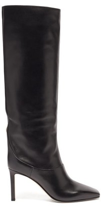 Jimmy Choo Mahesa 85 Square-toe Knee-high Leather Boots - Black