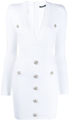 Balmain Button Embellished Quilted Dress