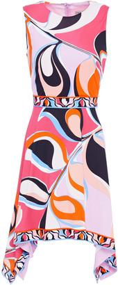 Emilio Pucci Asymmetric Printed Stretch-jersey Mini Dress