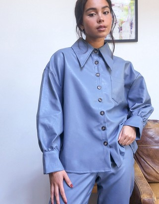 GHOSPELL oversized shirt in faux leather co-ord