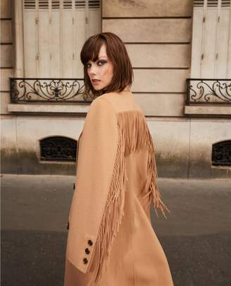 The Kooples Wool warm winter coat in camel with fringing