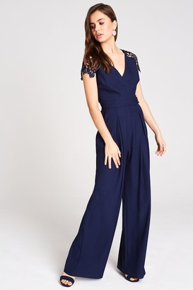Mara Navy Tie Back Lace Jumpsuit