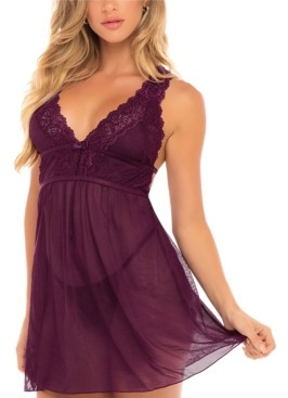 Oh La La Cheri Women's Mesh and Lace Frame Empire Baby doll with G-String