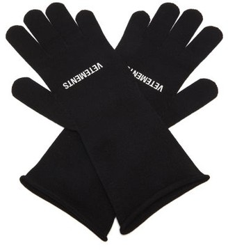 Vetements Logo-print Rolled-cuff Gloves - Black