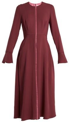 Roksanda Eveline Fluted-cuff Georgette Dress - Womens - Burgundy Multi