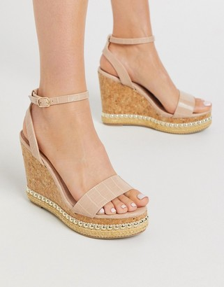 Miss KG pip glam wedges in beige patent
