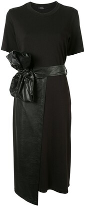 GOEN.J Faux-Leather Overlaid Wrap Dress