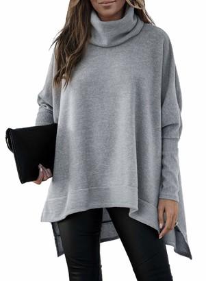 Jolicloth Ladies Winter Pullover Tops Fashion Jumpers Batwing Asymmetric Long Sleeve Sweatshirt Tops Medium UK 6 Gray