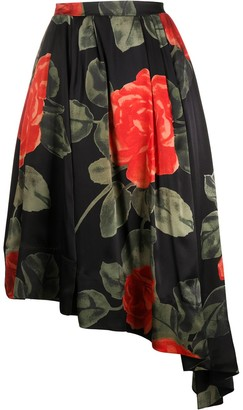 Simone Rocha Asymmetric Rose Print Skirt
