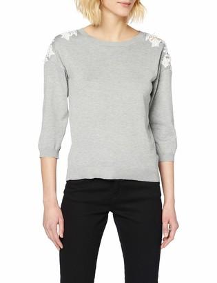 Dorothy Perkins Women's Grey Marl Plain Crochet Shoulder Jumper Sweater 18