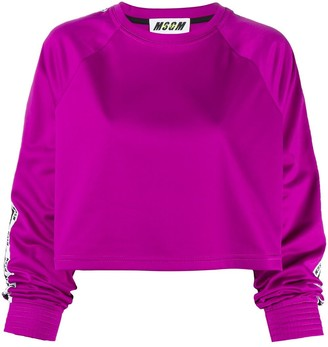 MSGM Logo-Taped Sleeve Cropped Sweatshirt