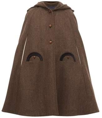 BLAZÉ MILANO Lady Anne Hooded Wool Herringbone-tweed Cape - Womens - Grey Multi