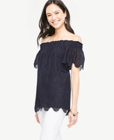 Ann Taylor Off The Shoulder Scalloped Top
