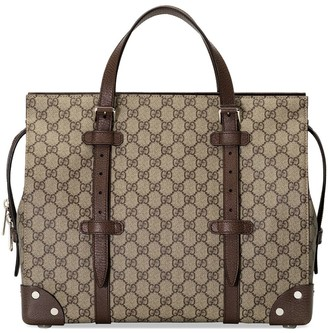 Gucci Leather-Trim Logo-Print Tote