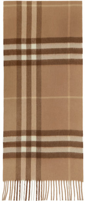 Burberry Tan Cashmere Classic Check Scarf