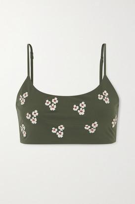 Anémone Embroidered Bikini Top - Army green