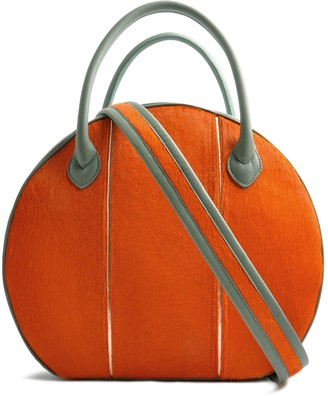 Ostwald Finest Couture Bags Circle Soft Large In Orange Salvia Green & Copper Metallic