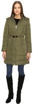 "Kate Spade Hooded Hard Down Coat w/ Faux Fur Trim 36"""
