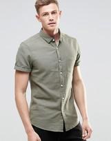 Asos Regular Fit Herringbone Shirt In Khaki