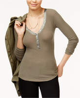 American Rag Juniors' Ribbed Henley Top, Only at Macy's