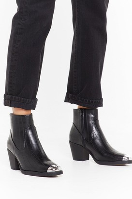 Nasty Gal Womens You Belong Toe Me Faux Leather Croc Boots - Black - 3