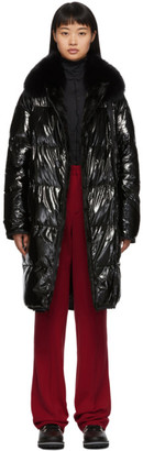 Yves Salomon Black Fur and Down Four Coat