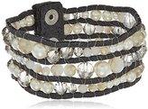 Jessica Simpson Three Layered Beaded Snap Bracelet