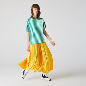 Lacoste Women's Crew Neck Branded Striped Cotton T-shirt