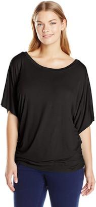 Star Vixen Women's Plus-Size Scoop Neck Dolman Sleeve Side Shirring Comfy Knit Tunic Top