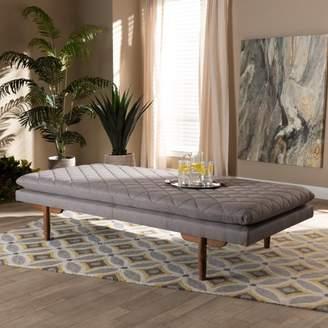 Baxton Studio Marit Mid-Century Modern Gray Fabric Upholstered Walnut Finished Wood Daybed