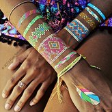 Flash Tattoos Illia Authentic Metallic Temporary Tattoos 4 Sheet Pack (Black/gold/silver/white) - Includes Over 34 Colorful Premium Waterproof Tattoos
