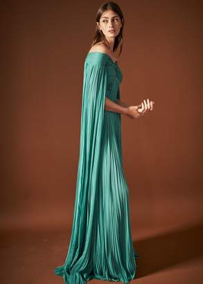 J. Mendel Emerald Cape Hand-Pleated Gown
