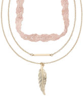 Carole Three-Row Leaf Pendant Necklace