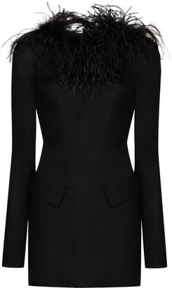 ATTICO Feather Trim Mini Dress