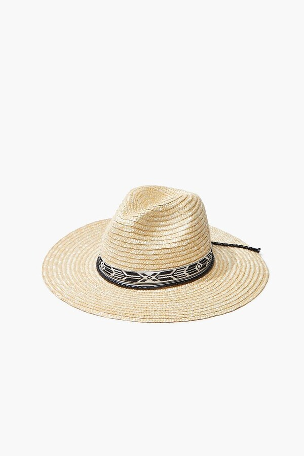 Thumbnail for your product : Forever 21 Geo-Trim Straw Fedora