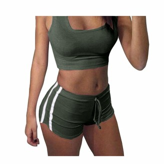 Juleya Women Yoga Sets Bra + Shorts Lady Track Suit Stripe Sport Suits Soft Comfortable Tracksuit Tops Sports Pants Gym Outfit for Jogging Running Yoga