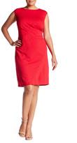 London Times Jacquard Release Tuck Sheath Dress (Plus Size)