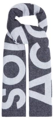Acne Studios Toronty Intarsia-logo Wool-blend Scarf - Black