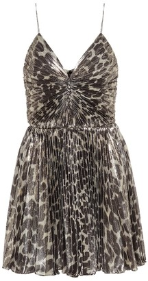 Saint Laurent Leopard-print silk-blend minidress