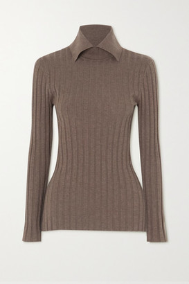 Totême Aviles Ribbed Wool-blend Sweater - Army green