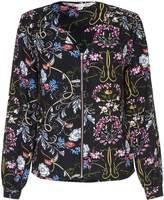 Yumi Floral Collarless Bomber Jacket