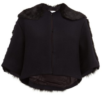 Raey Cropped Shearling And Wool Jacket - Womens - Navy Multi