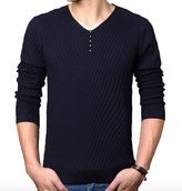 WSLCN Men's V-Neck Long Sleeve Jumper Pullover Sweater Cable Stitch