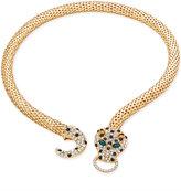 Thalia Sodi Gold-Tone Glitter Leopard Head Collar Necklace, Only at Macy's