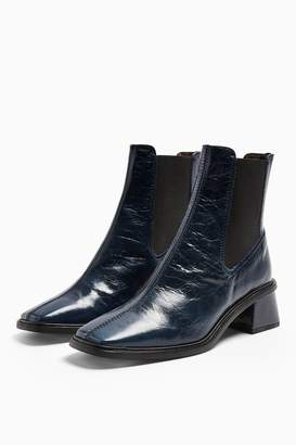 Topshop Womens Mia Leather Navy Chelsea Boots - Navy Blue
