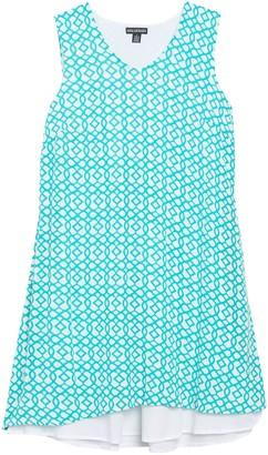 Nina Leonard V-Neck Sleeveless Double Layer Shift Dress