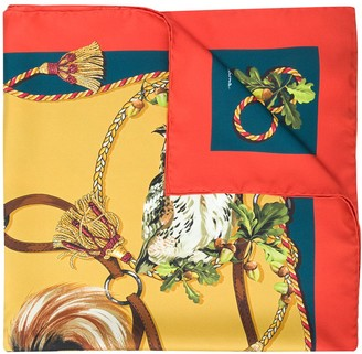 Dolce & Gabbana Pheasant Print Silk Scarf